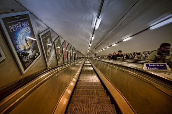 The escalators down to the London tube