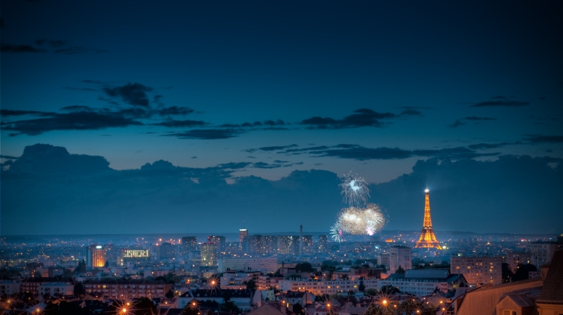 The Eiffel Tower and Fireworks - HDR of Paris