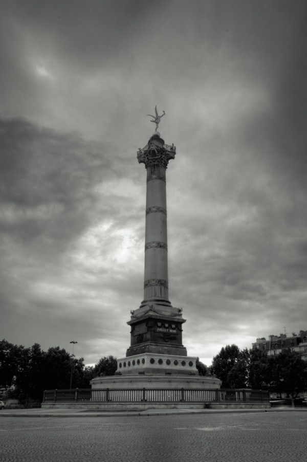 Bastille Square in Paris, HDR in Black and White cloudy day