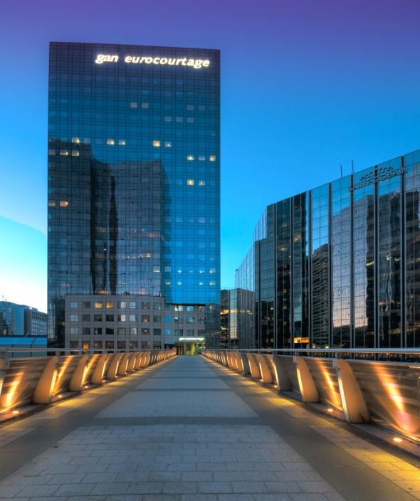 La Defense in HDR, Paris, The Gan Eurocourtage building