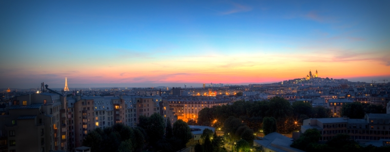 Paris Panorama, Eiffel tower to Montmartre in HDR
