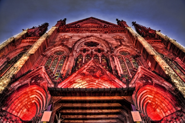 Temple St Etienne, Mulhouse with Christmas Decoration in HDR