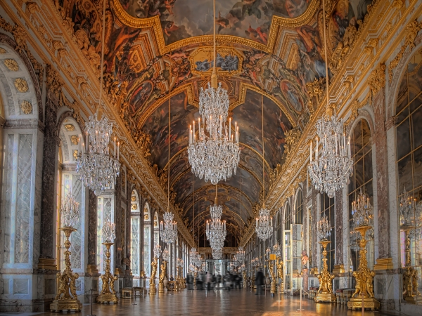 Galerie des Glaces (Hall of Mirrors) of Versailles in HDR
