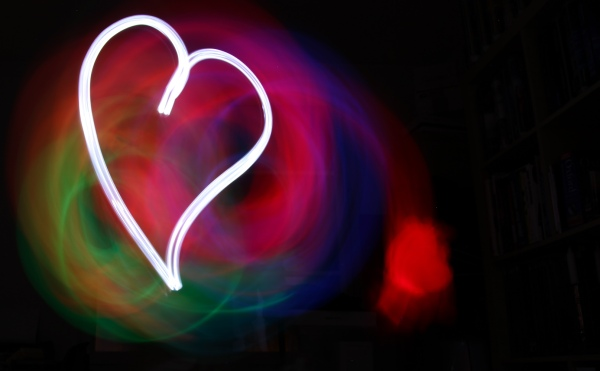 Light writing heart and color