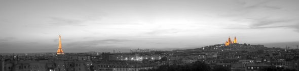 Paris black and white spot color panorama