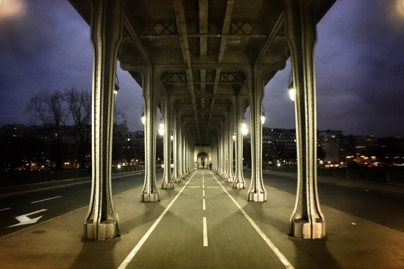 A steel bridge over the Seine river in Paris, the Metro runs above it and pedestrians below it.