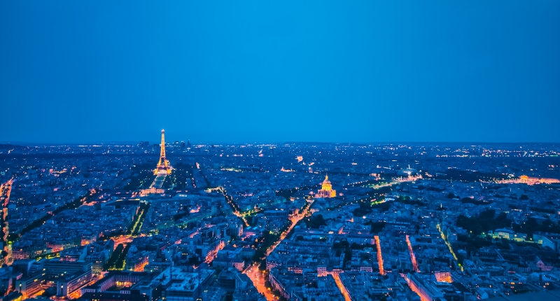 Paris by night from Montparnasse Tower